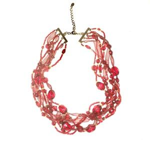 Jewelry - Vintage Monet lucite beads and fabric choker.